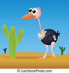 ostrich on abstract desert background