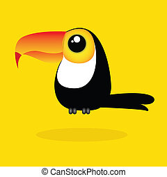 toucan - cute toucan on yellow background with shadow effect