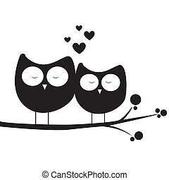 owl in love - abstract owls in love on white background