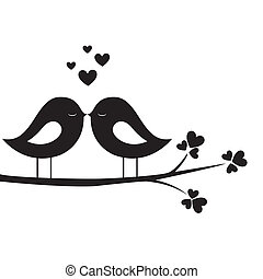 bird kiss on white background
