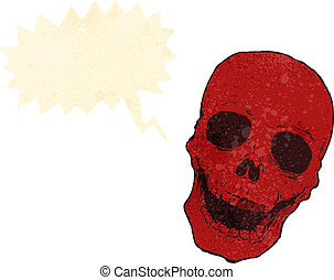 retro cartoon spooky red skull