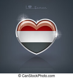 Yemen - Glossy heart shape flags of the Worlds: Republic of...