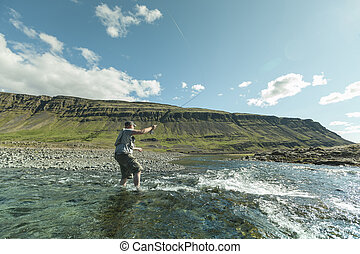 Flyfisherman casting the fly