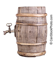 Wine barrel with faucet - old wine wooden retro barrel with...