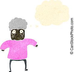 retro cartoon old lady