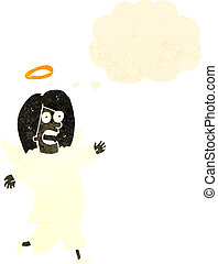 retro cartoon angel with thought cloud
