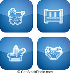 Baby born - Four icons in relation to a Baby born time /...