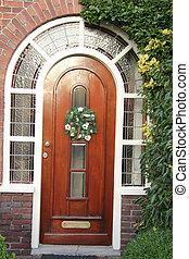 classic front door with wreath