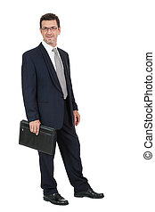 attractive successful adult business man in black suit isolated