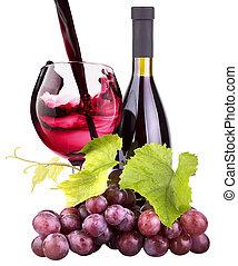 vidrio, uvas, botella, maduro, vino