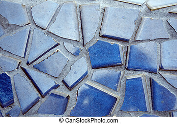 Blue Irregular Tiles - Blue irregular tiles as a background