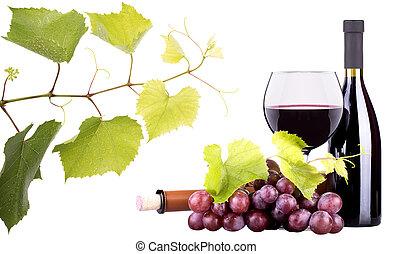 maduro, uvas, vino, vidrio, botella, vino