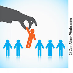 Human Resources concept: choosing the perfect candidate for...