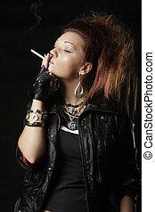 Punks prefer smoking - Smoking punky style girl photo over...