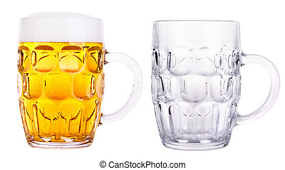 Beer glasses full and empty isolated on a white background