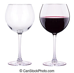 full and empty red wine glass isolated - full and empty red...
