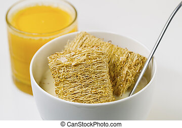 Whole grain Cereal, Honey and Orange Juice ready for...