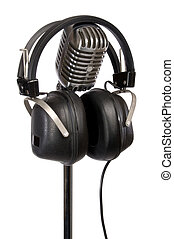 Retro Headphones and Mic - Retro microphone and vintage...