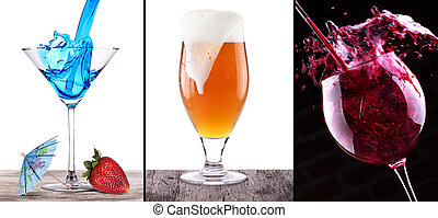collage witn coctail, wine and beer on wooden table isolated