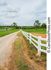 fence in farm field with cloudy - white fence in farm field...