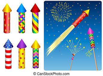 Firecracker, fireworks, rocket