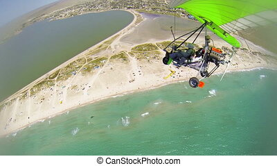 Aerial: Flying above the sea coast - Flying over Black sea...