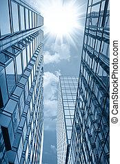glass building under the sun - modern glass building under...