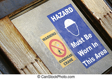 Hard Hat Signs - A warning of work safety symbol of must...