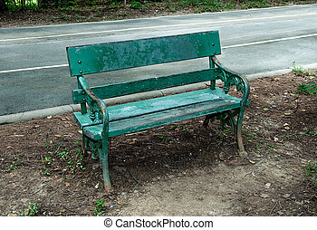 Old wooden bench in park