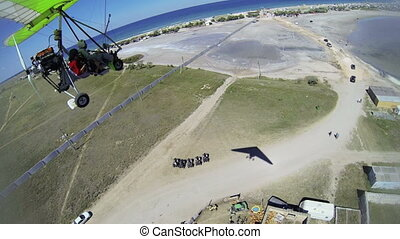 Aerial view of seashore from hang glider Tarhankut, Crimea...