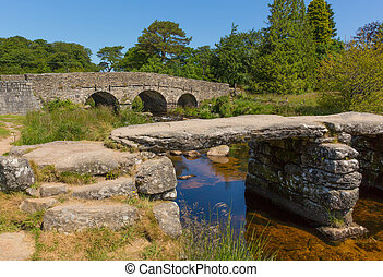 Postbridge Dartmoor National Park - Both bridges at...