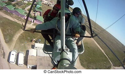 Flying on motorized hang glider