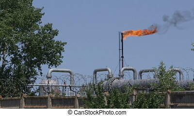 Flare stack on gas production site