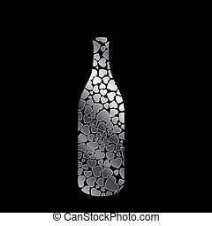 bottle with silver hearts