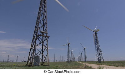 Wind turbine farm, wide shot