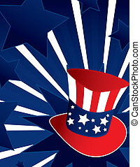 Uncle Sam hat background - Uncle Sam hat with active blue...