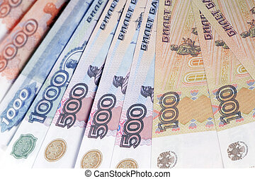 Russian paper currency closeup - object on white - currency...