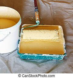 Pintura, cubo, rodillo, pintor, cepillo