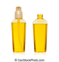 Cosmetic oil bottle isolated on white background