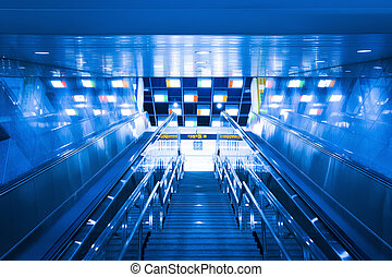 stairway to the exit of subway - stairway to the exit of a...
