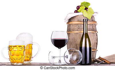 grapes on a barrel with corkscrew and beer glass - grapes on...