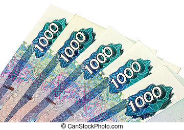 Russian currency - Five thousand roubles on the isolated...