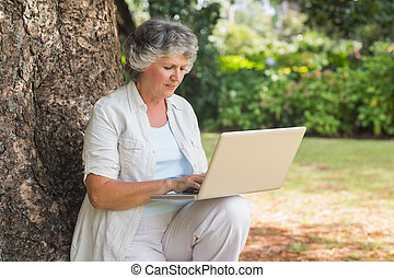 Mature woman typing something into a laptop sitting on tree trunk in the park on sunny day