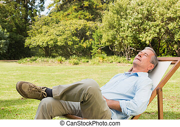 Happy man relaxing