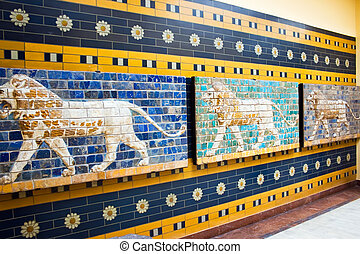 Babylonian mosaic - Lions on a Babylonian mosaic in the...