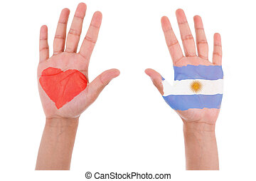 Hands with a painted heart and argentinian flag, i love...