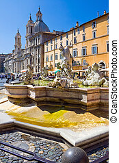 Piazza Navona - Fountain on famous square Piazza Navona in...