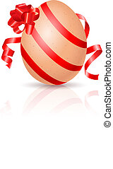 Easter Egg - Single Easter Egg with red ribbon. Illustration...