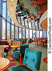 restaurant with mirror ceiling - round restaurant with...