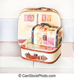 suitcase - Vintage brown suitcase over white background